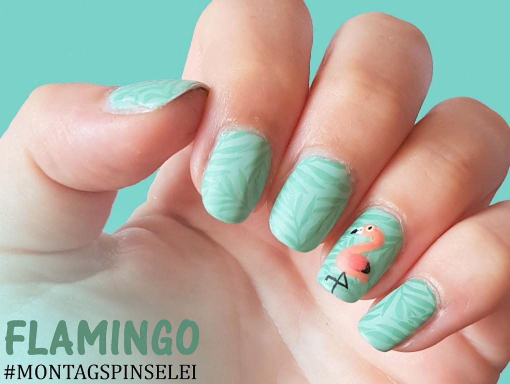 Montagspinselei Flamingo Nailart