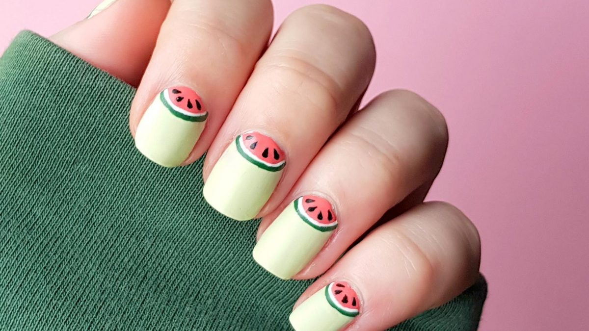 Halfmoon Watermelon Nails