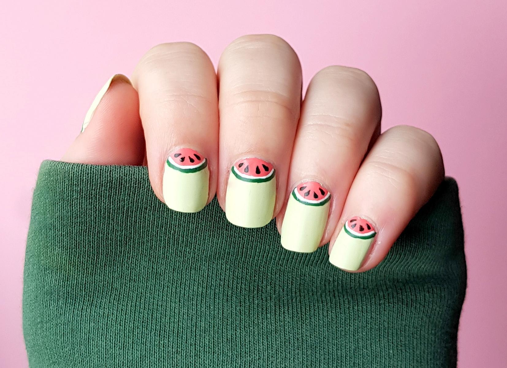 Halfmoon Watermelon Nails