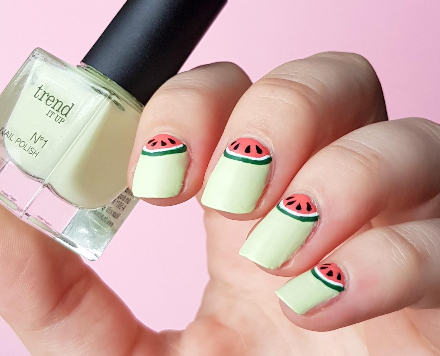 Halfmoon Watermelon Nails trend it up