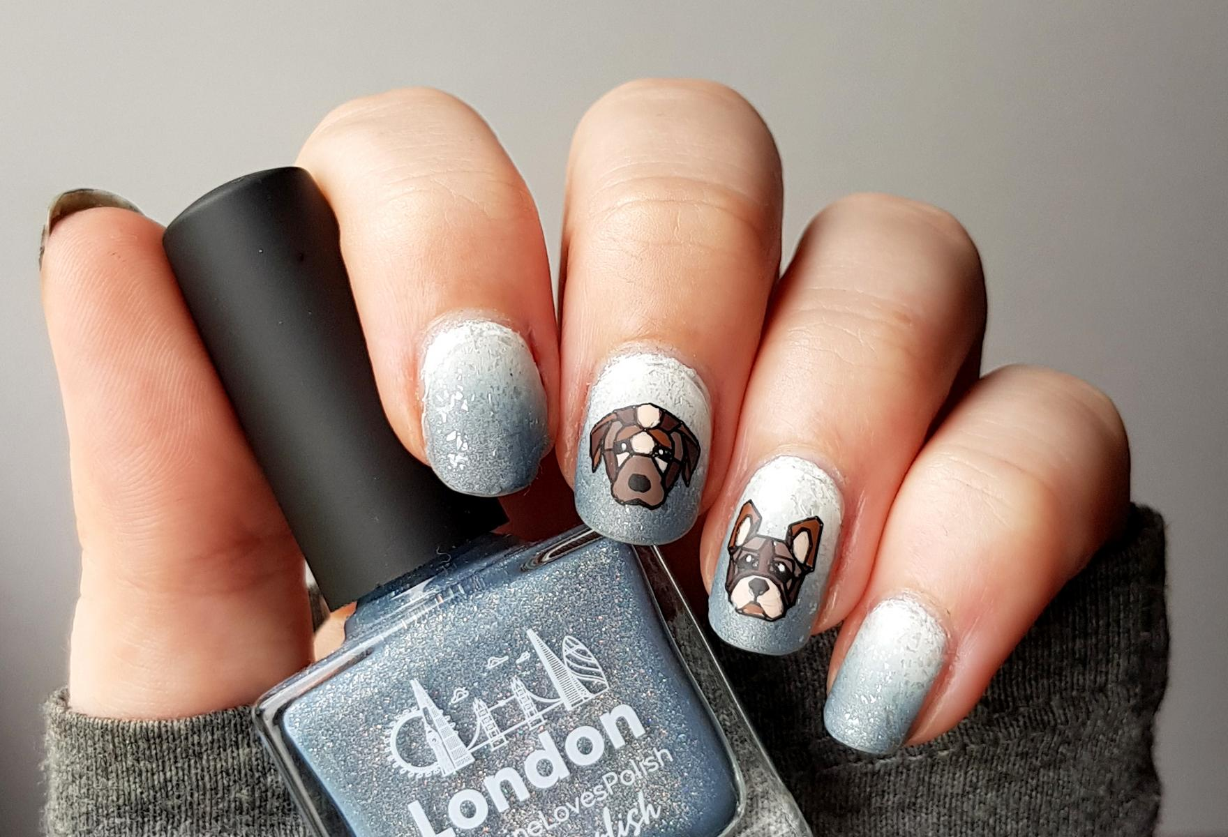Geometrische Hunde mit Moyou Hipster 15 Nägel Picture Polish London