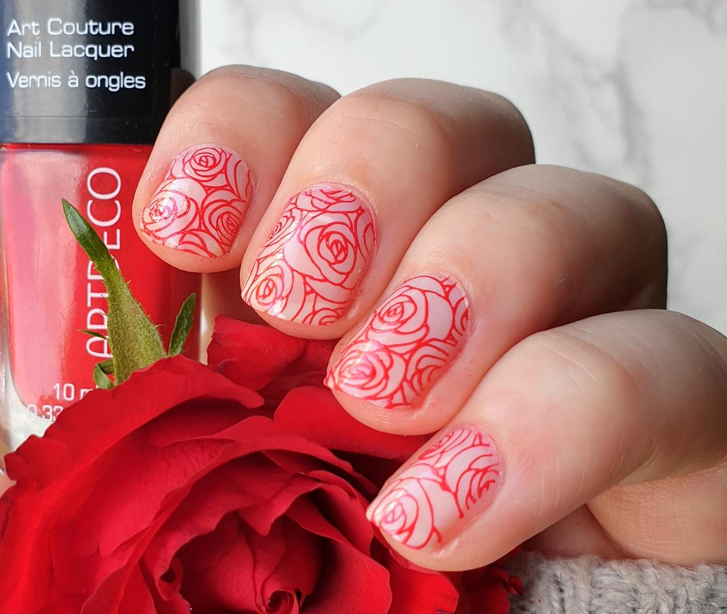 Artdeco Red Volcano Roses Stamping Nailart