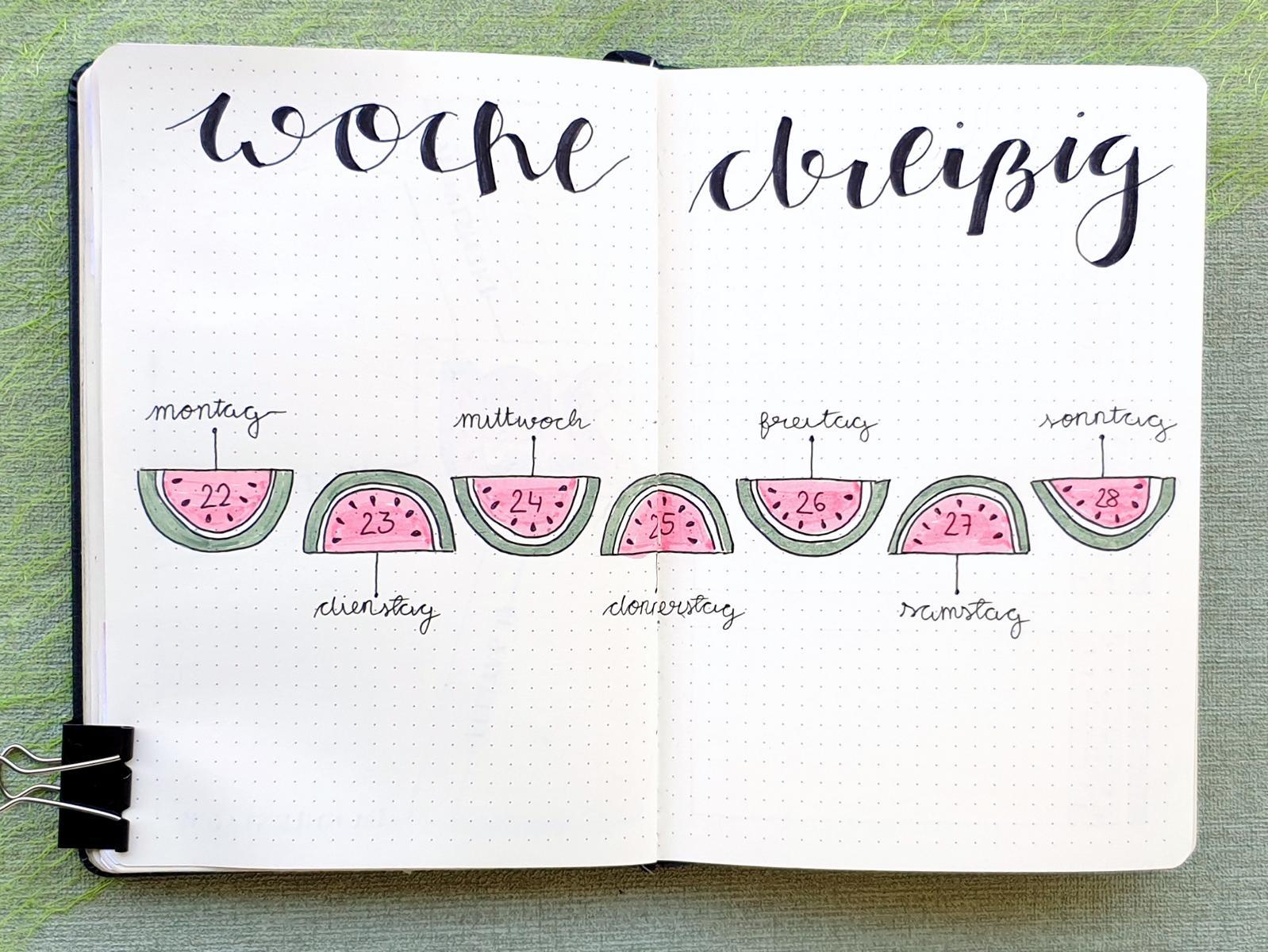 Bujo Juli Watermelon Weekly Spread