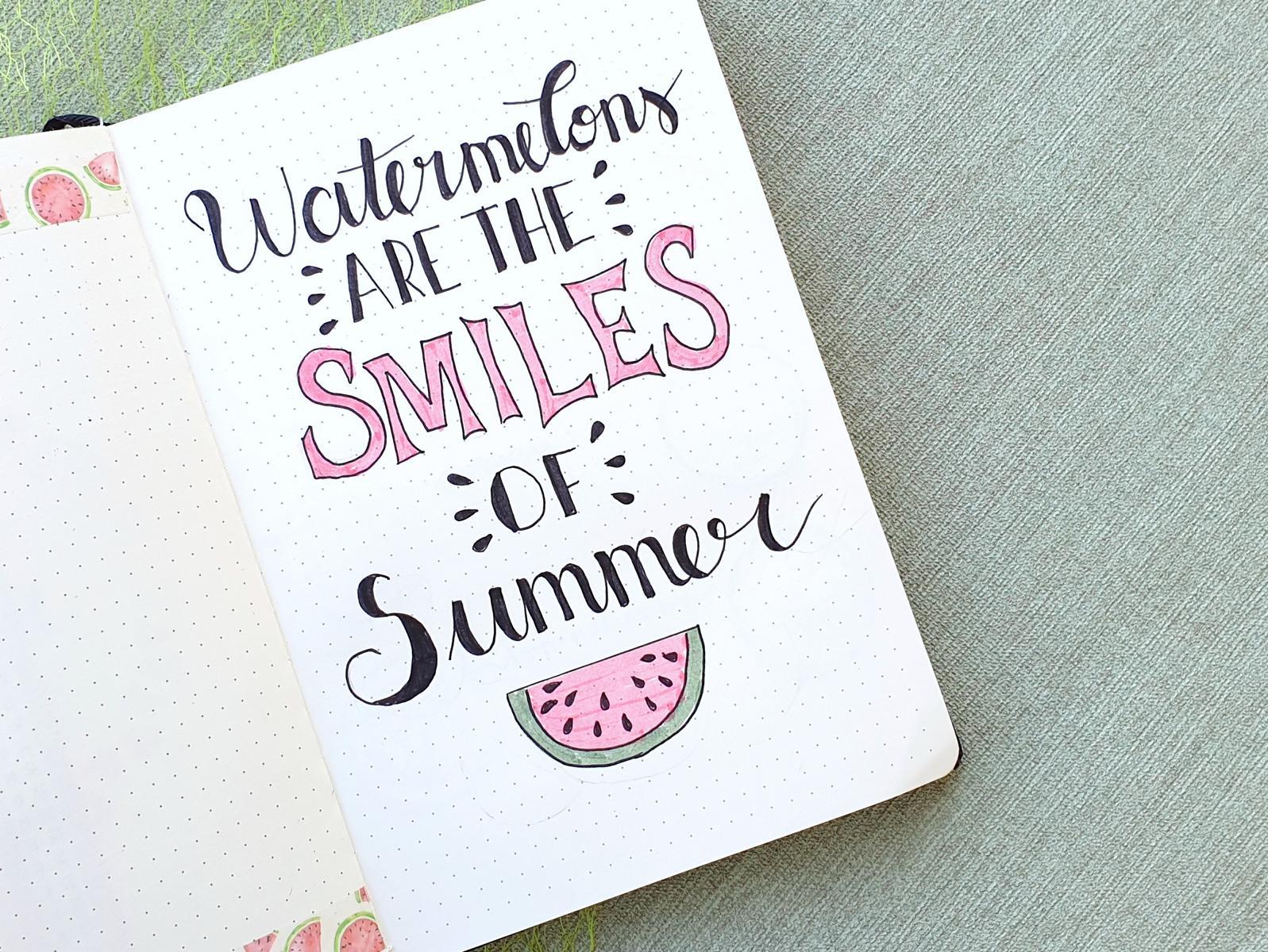 Juli Bullet Journal Wassermelone