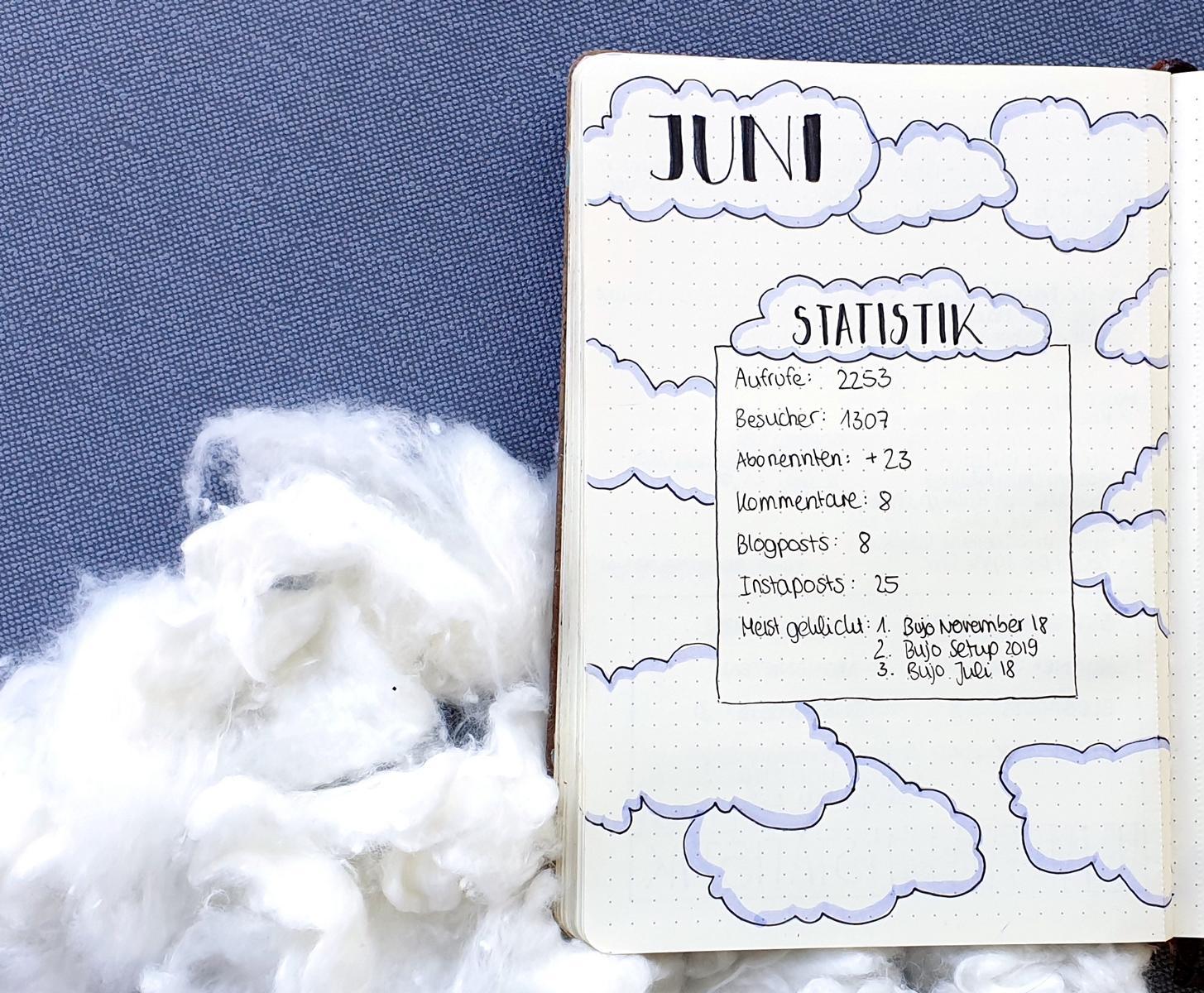 Juni Bullet Jounal 2019 Wolken Clouds Blogplaner