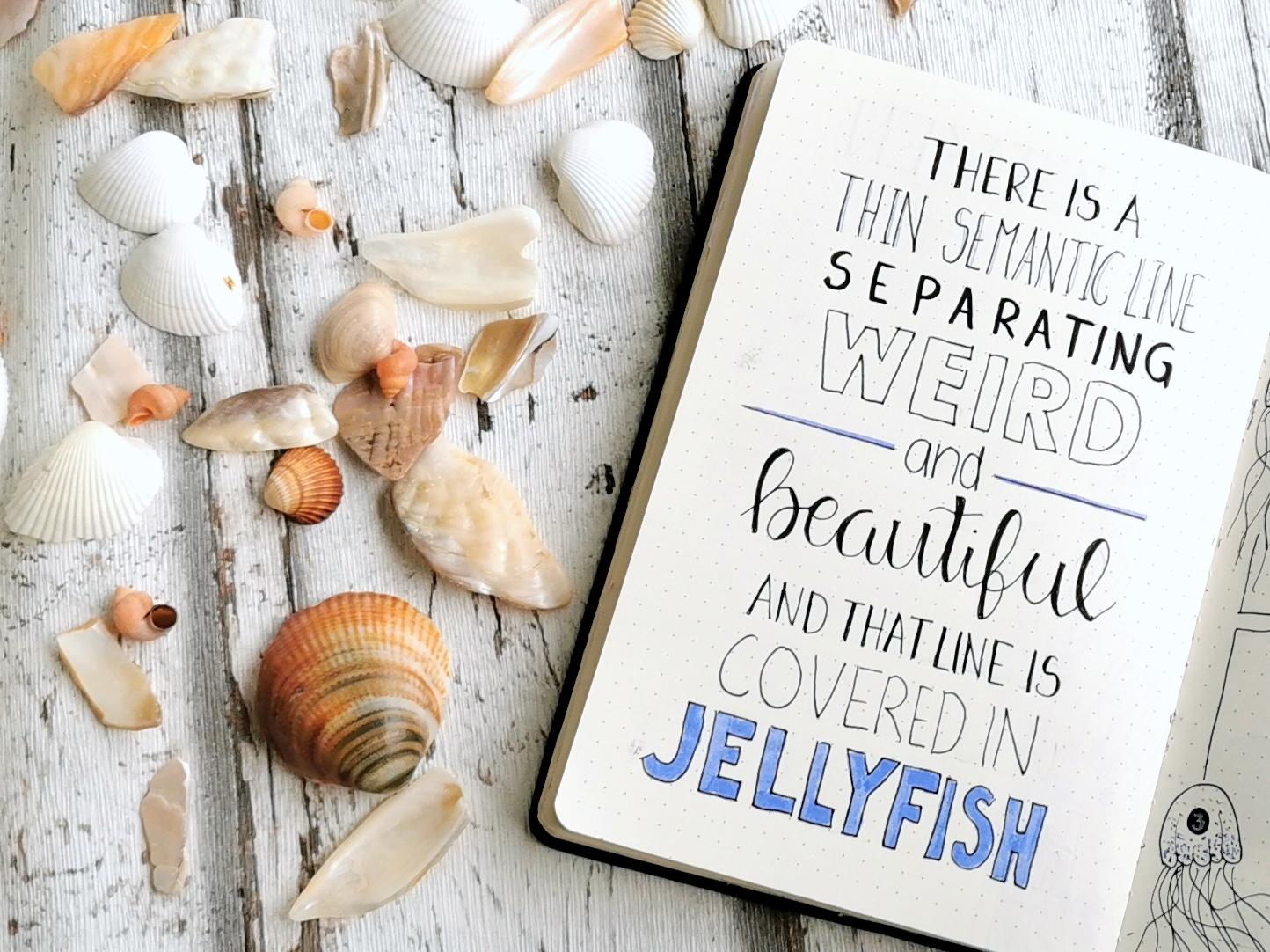 Bullet Journal August Jellyfish Handlettering