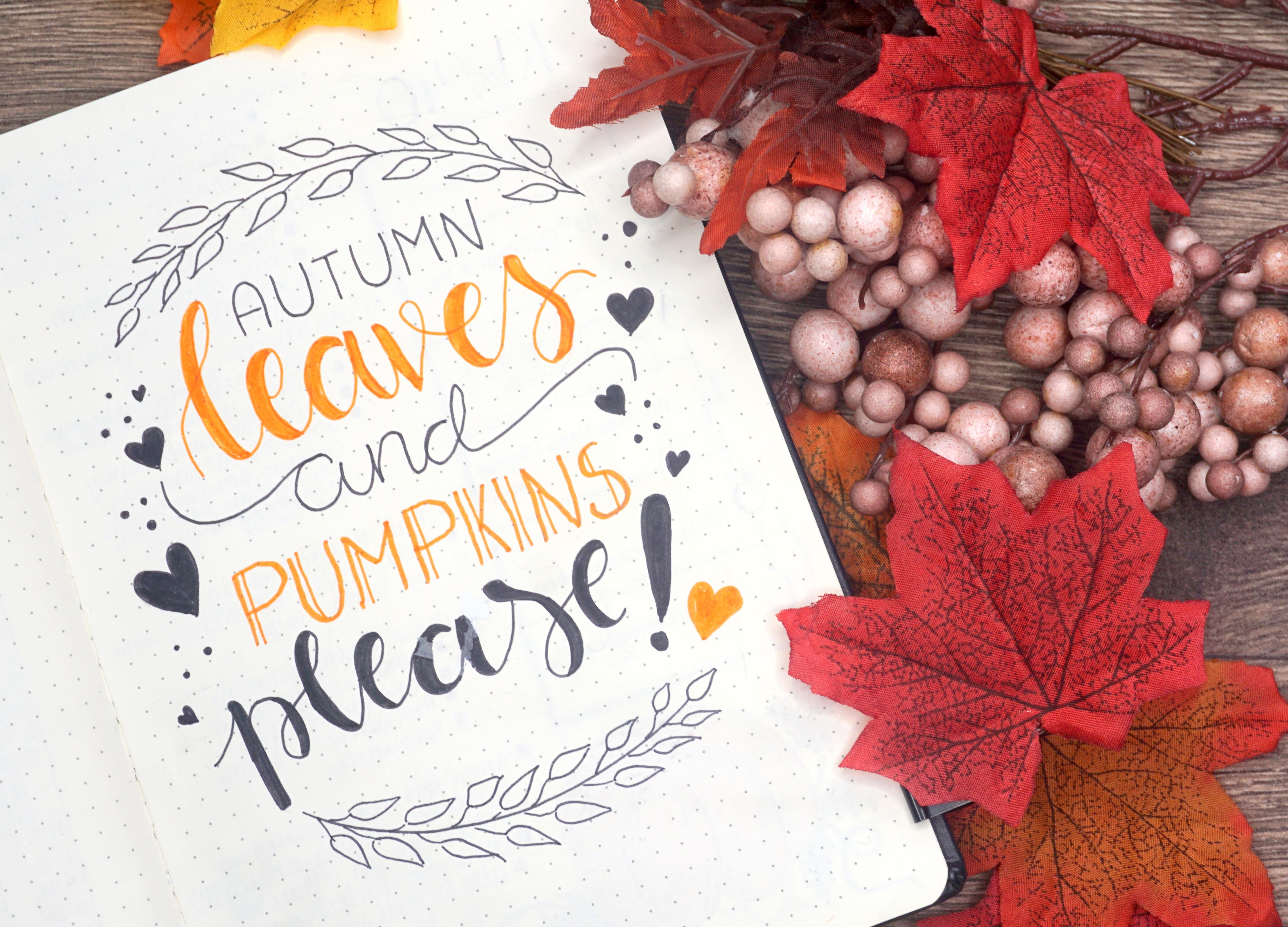 BuJo Kürbis Pumpkins Handlettering