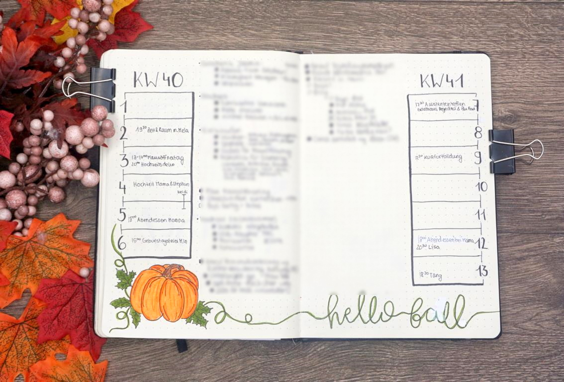 Bullet Journal Oktober Kürbis Pumpkins Weekly Spread