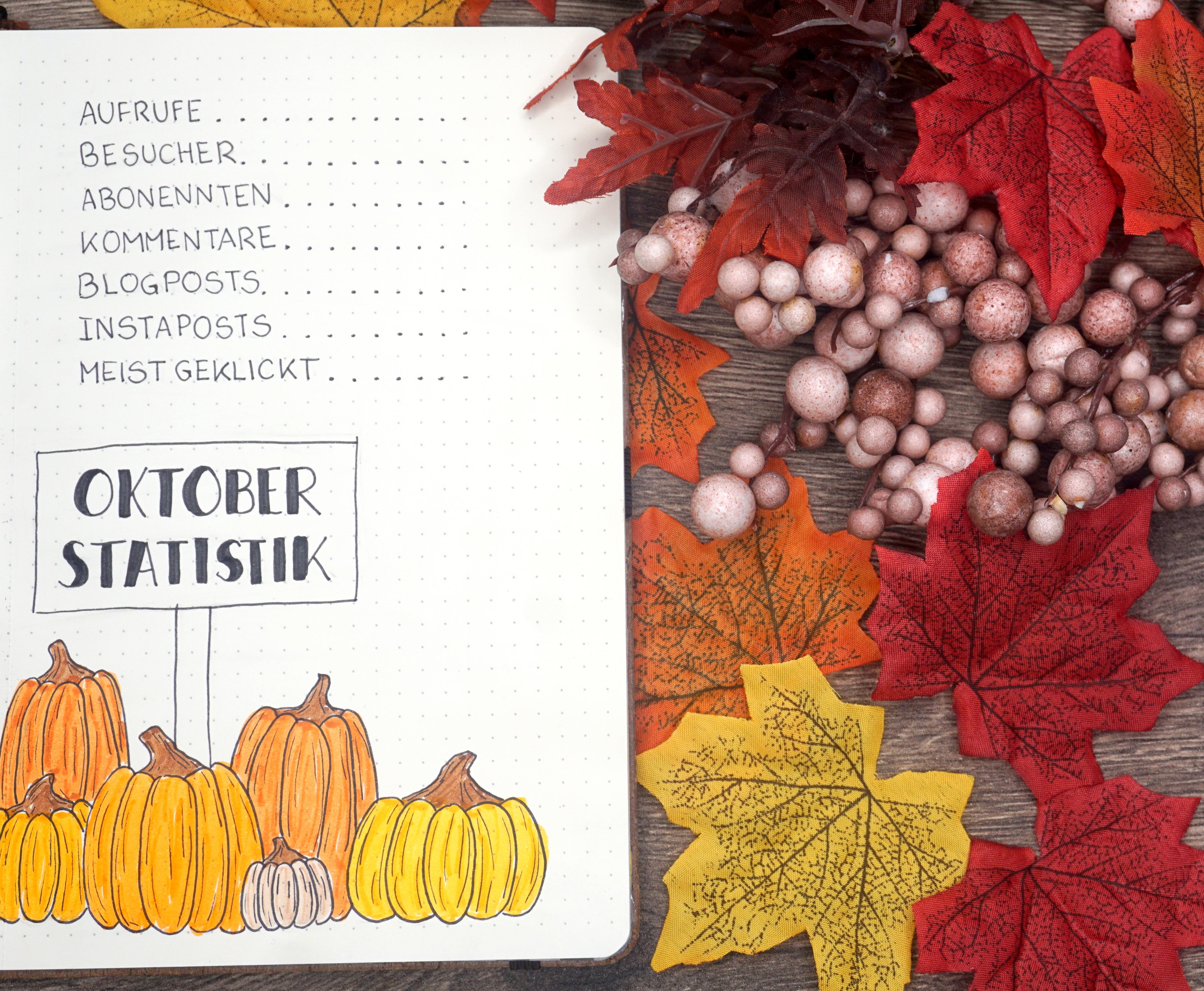 Bullet Journal Oktober Kürbis Blogstatistik Blogplaner