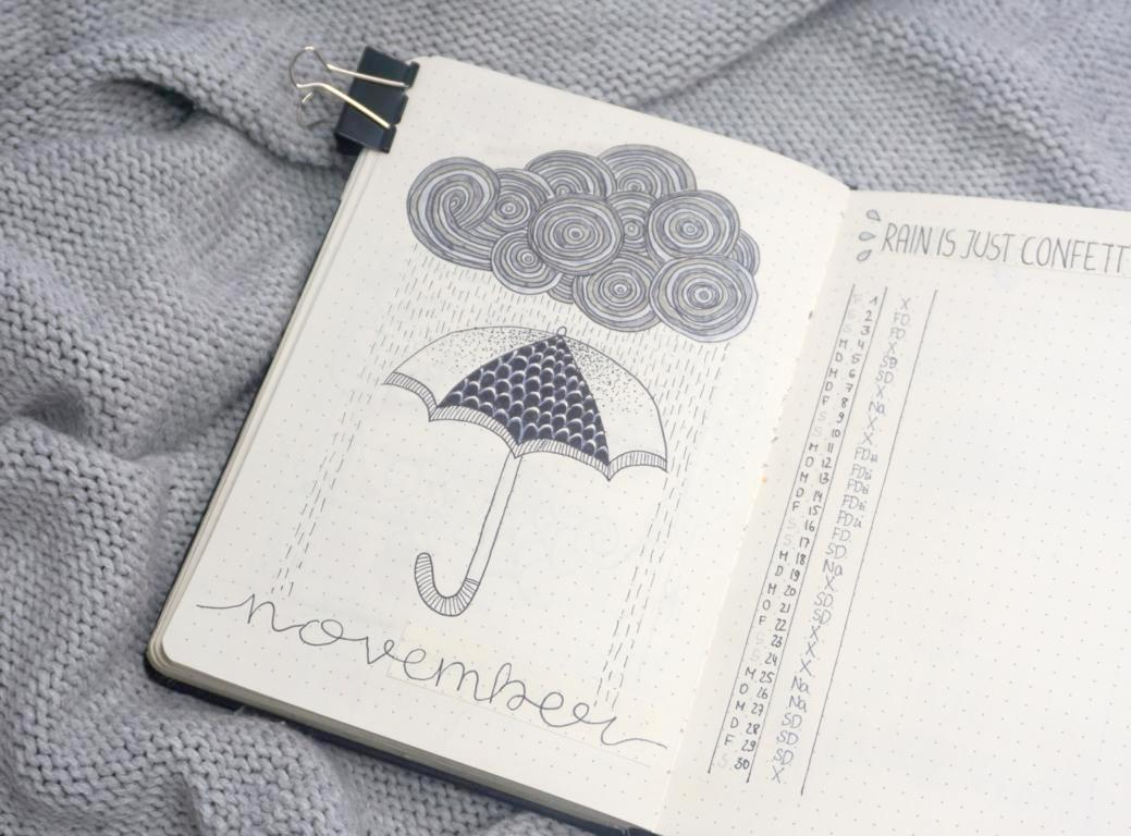 Bullet Journal November 2019 Regen Thema Monatsübersicht