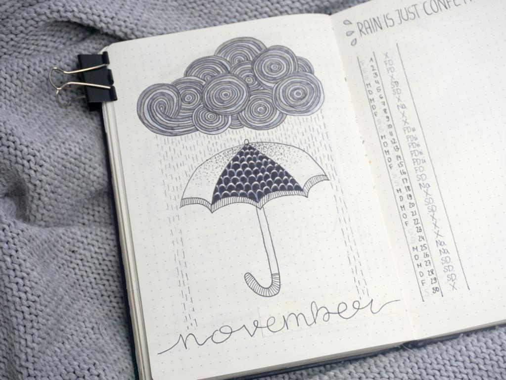 Bullet Journal November 2019 Regen Thema Cover Page