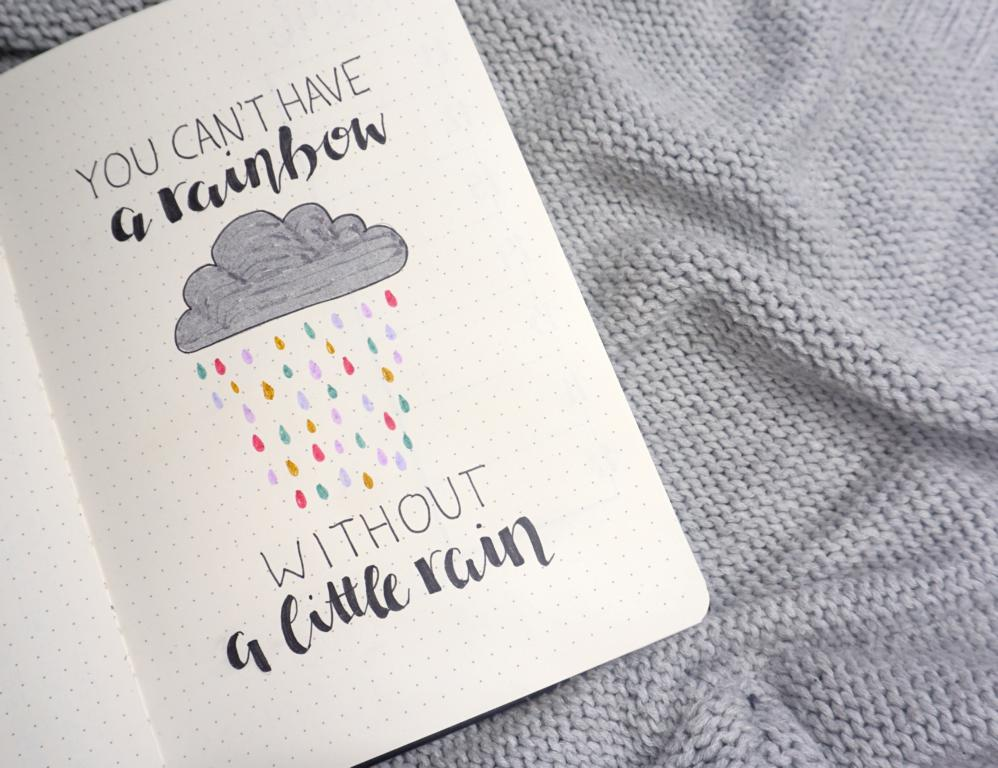 Bujo Handlettering Regen
