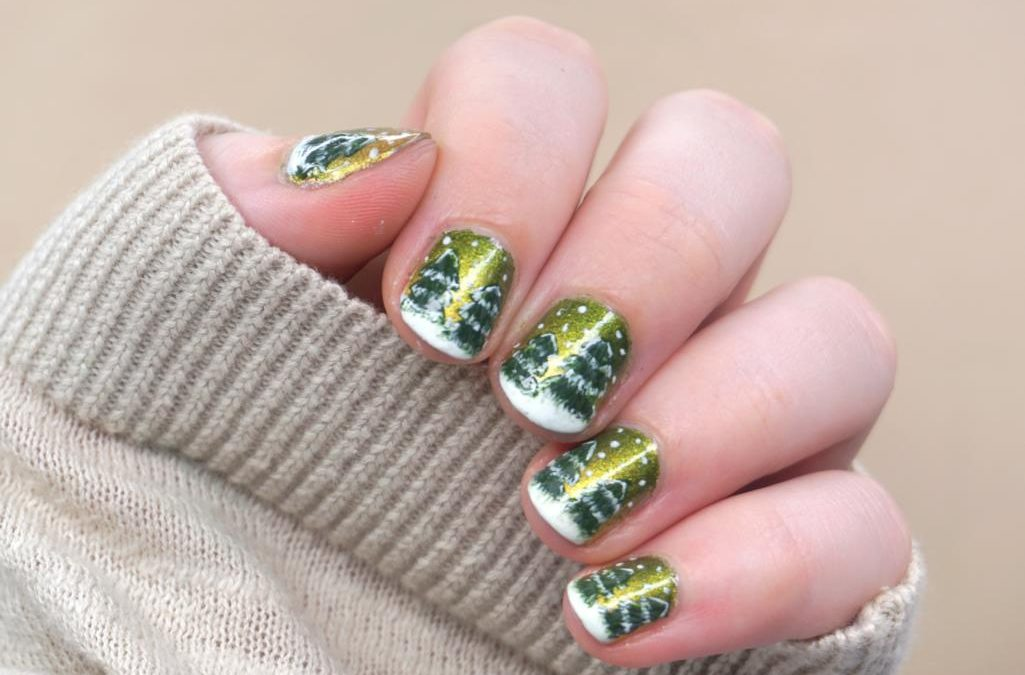 Grün Goldenes Winter Nailart