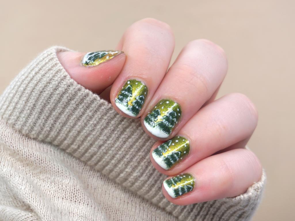 Grün Goldenes Winter Nailart