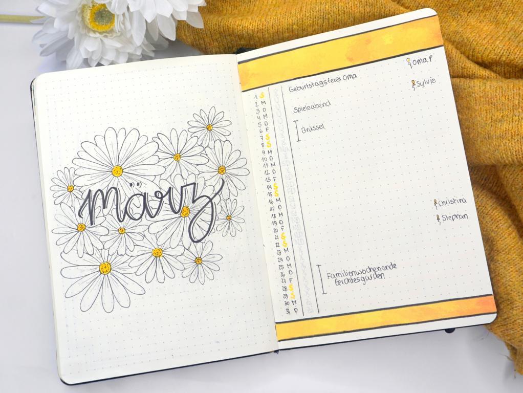 Bullet Journal März 2020 Gänseblümchen