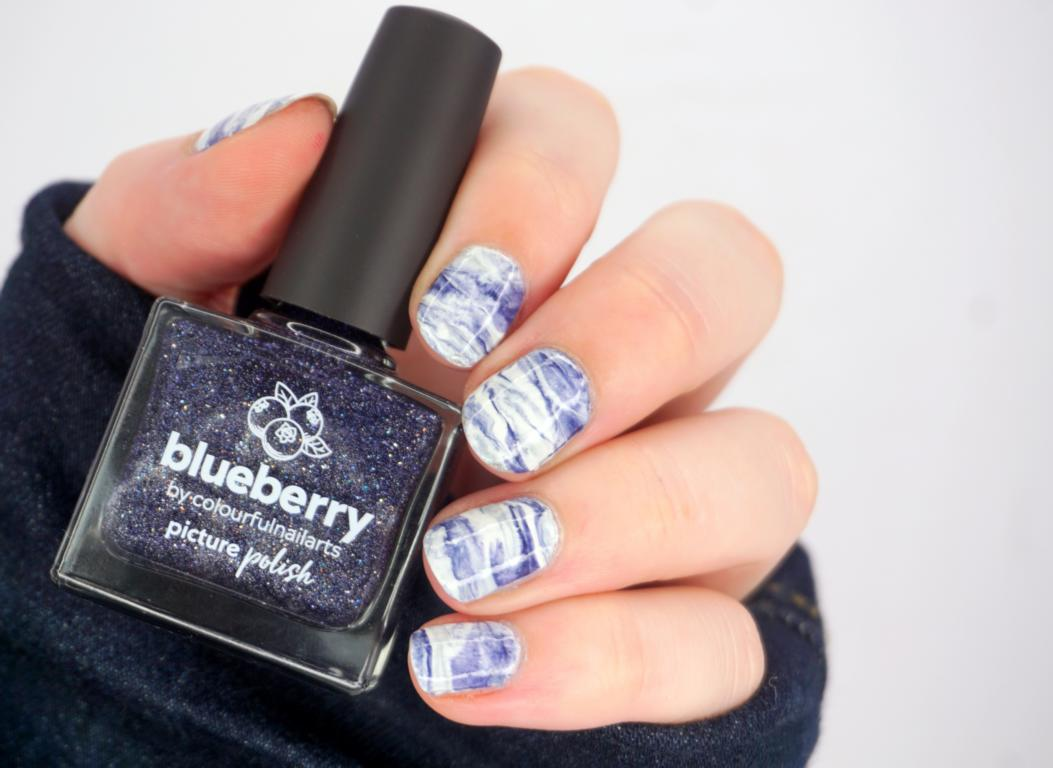 Marbling Nailart Picture Polish Blueberry