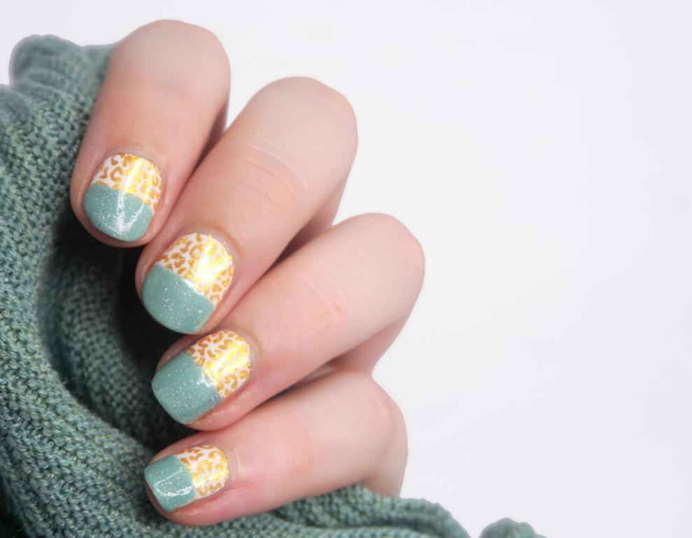 Pinterest inspired Nailart Mint und Gold Leopard #polisheduppinterest