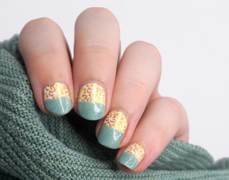 Pinterest inspired Nailart Mint und Gold Leopard