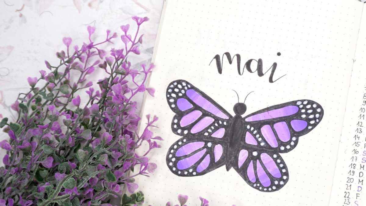 Mai Bullet Journal Lila Schmetterlinge