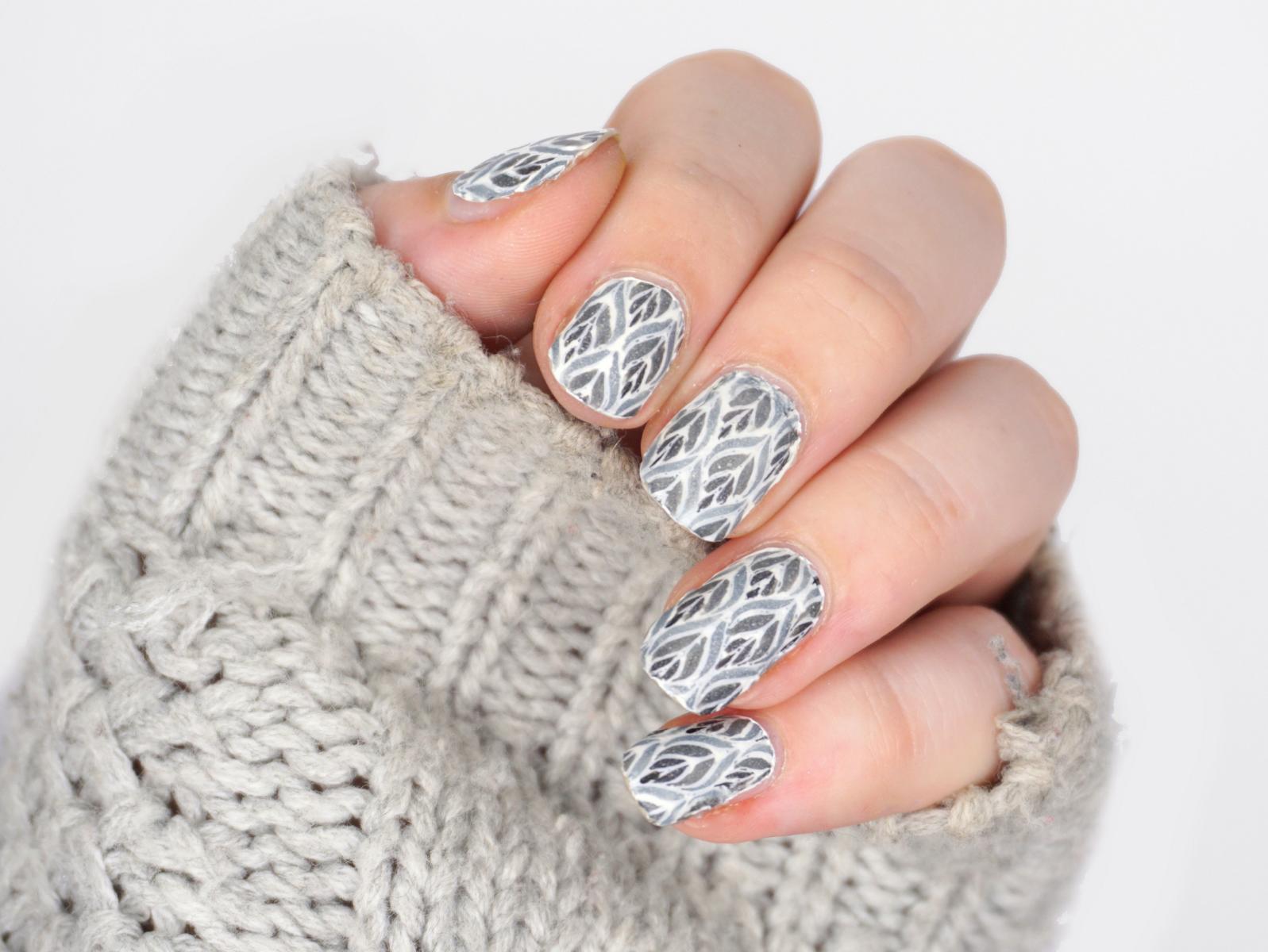 Grey Nailart Reverse Stamping